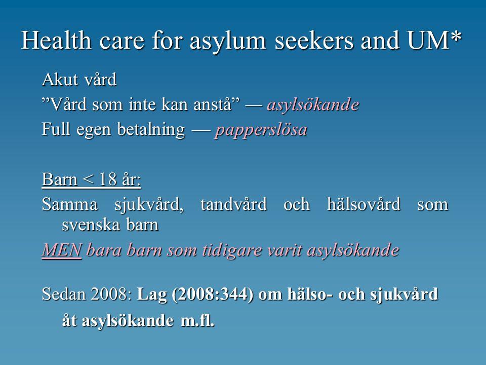 Health care for asylum seekers and UM* Akut vård Vård som inte kan anstå asylsökande Full egen betalning papperslösa Barn < 18 år: Samma sjukvård, tandvård och hälsovård som svenska barn MEN bara barn som tidigare varit asylsökande Sedan 2008: Lag (2008:344) om hälso- och sjukvård åt asylsökande m.fl.