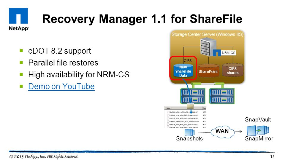 Recovery Manager 1.1 for ShareFile cDOT 8.2 support Parallel file restores High availability for NRM-CS Demo on YouTube Storage Center Server (Windows