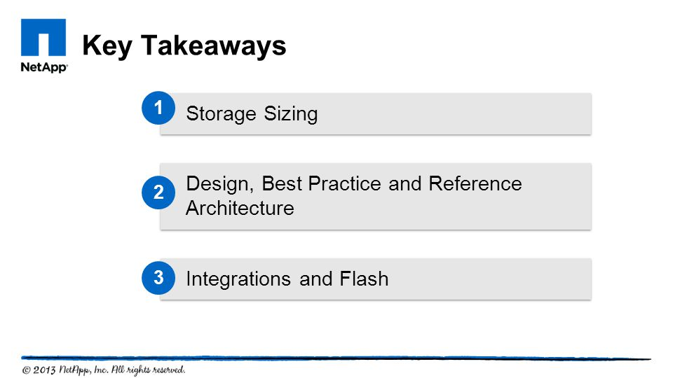 Key Takeaways Storage Sizing Integrations and Flash Design, Best Practice and Reference Architecture 1 2 3