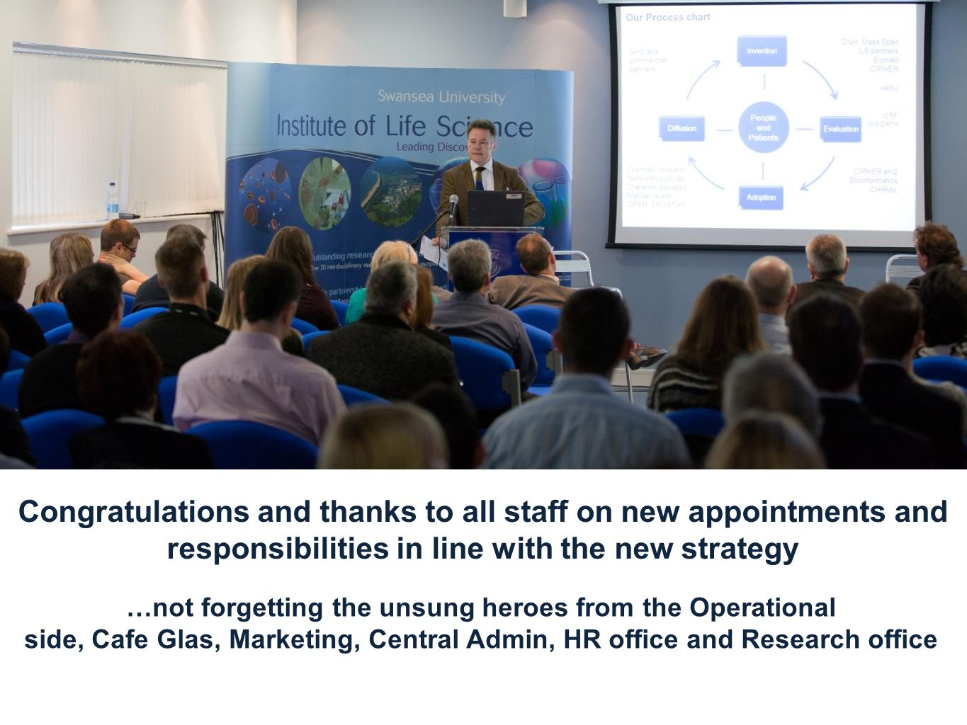 Congratulations and thanks to all staff on new appointments and responsibilities in line with the new strategy …not forgetting the unsung heroes from