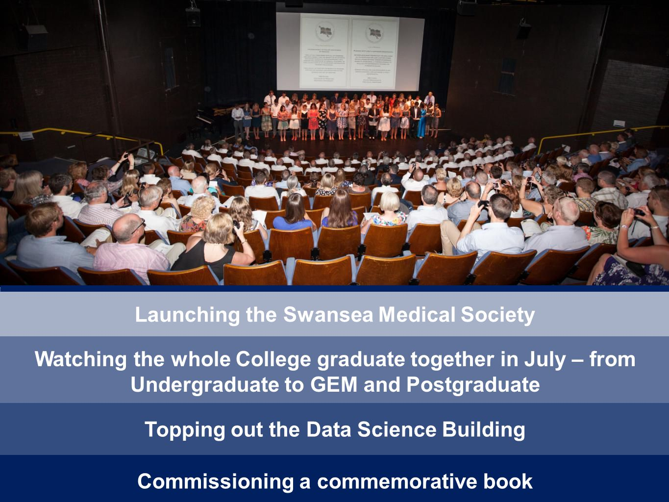 Launching the Swansea Medical Society Watching the whole College graduate together in July – from Undergraduate to GEM and Postgraduate Topping out the Data Science Building Commissioning a commemorative book
