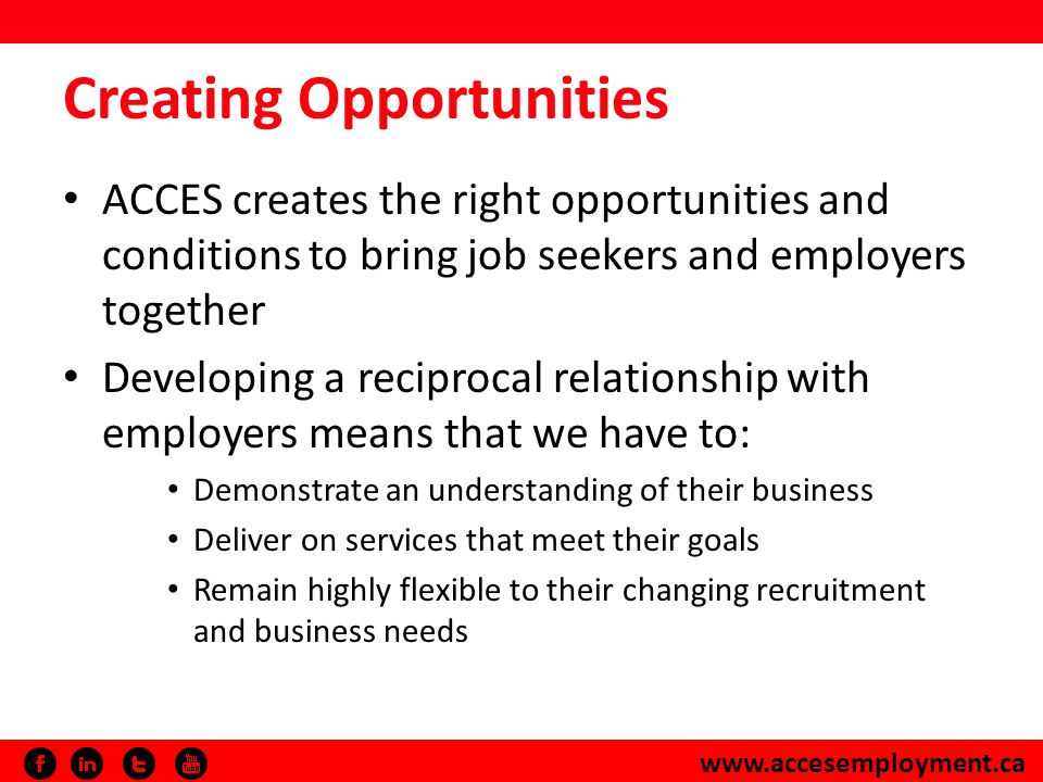 www.accesemployment.ca ACCES and BDC The relationship began with identifying recruitment opportunities from our Financial Services Connections® program Evolved into a partnership that saw the development of a unique program serving new Canadian entrepreneurs – Entrepreneurship Connections It is always a privilege to work with entrepreneurs.