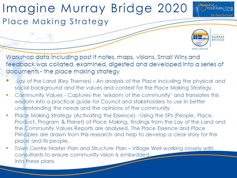 Imagine Murray Bridge 2020 Place Making Strategy Workshop data including post it notes, maps, visions, Small Wins and feedback was collated, examined,