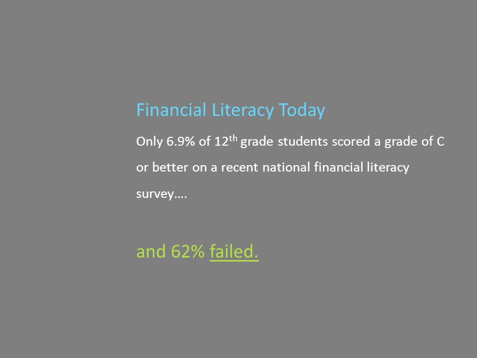 Financial Literacy Today Only 6.9% of 12 th grade students scored a grade of C or better on a recent national financial literacy survey….