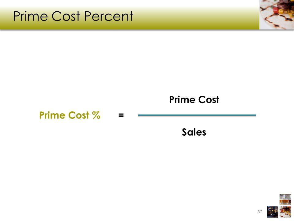 Prime Cost Percent 32 Prime Cost % Prime Cost Sales =