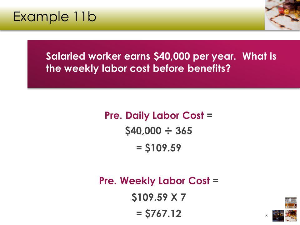 Example 11b Pre. Daily Labor Cost = $40,000 ÷ 365 = $109.59 Pre.