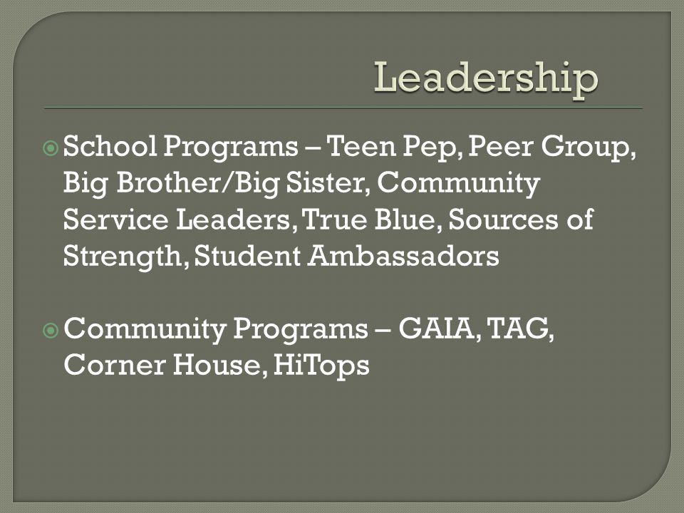School Programs – Teen Pep, Peer Group, Big Brother/Big Sister, Community Service Leaders, True Blue, Sources of Strength, Student Ambassadors Community Programs – GAIA, TAG, Corner House, HiTops