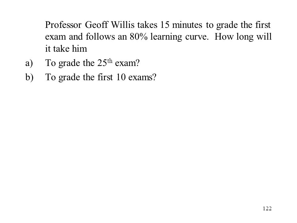 122 Professor Geoff Willis takes 15 minutes to grade the first exam and follows an 80% learning curve.