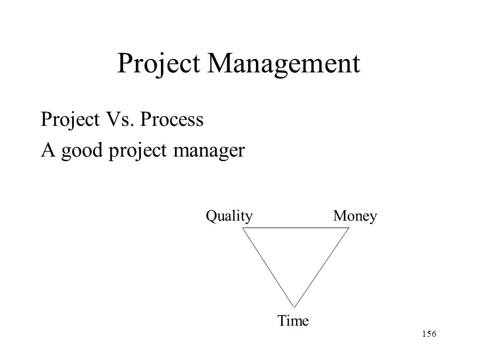156 Project Management Project Vs. Process A good project manager QualityMoney Time