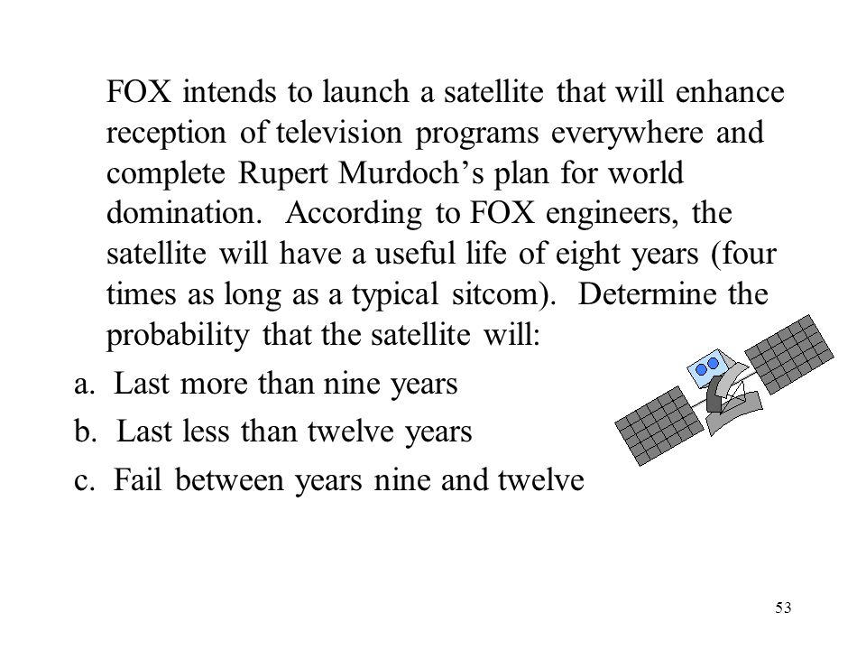 53 FOX intends to launch a satellite that will enhance reception of television programs everywhere and complete Rupert Murdochs plan for world domination.