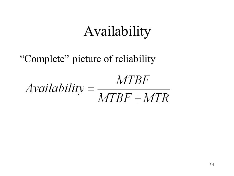 54 Availability Complete picture of reliability