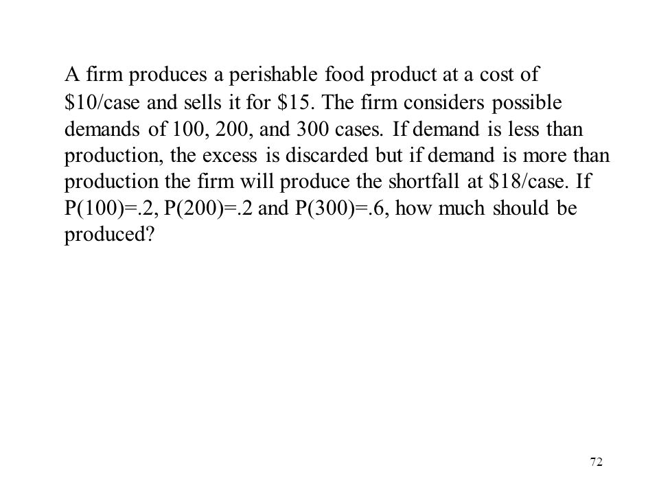 72 A firm produces a perishable food product at a cost of $10/case and sells it for $15.
