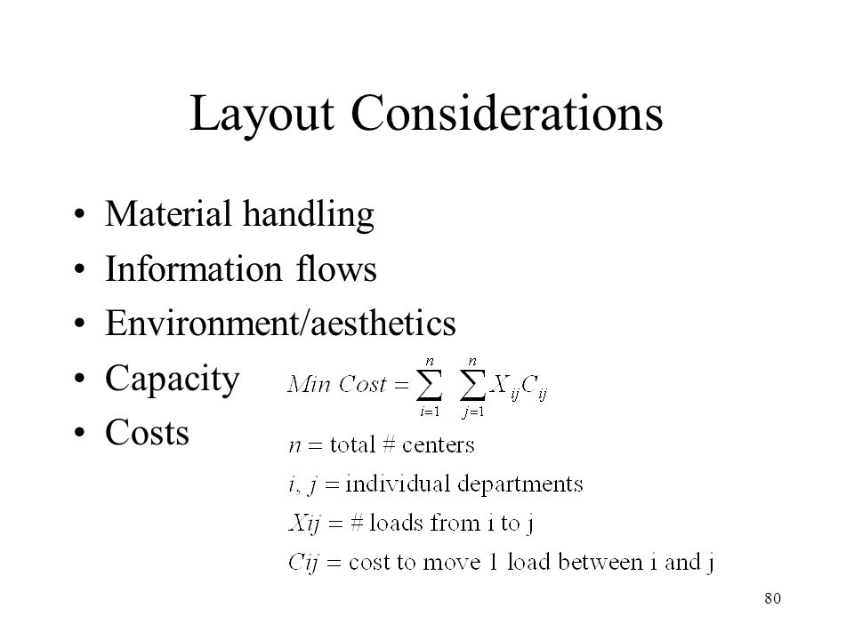 80 Layout Considerations Material handling Information flows Environment/aesthetics Capacity Costs