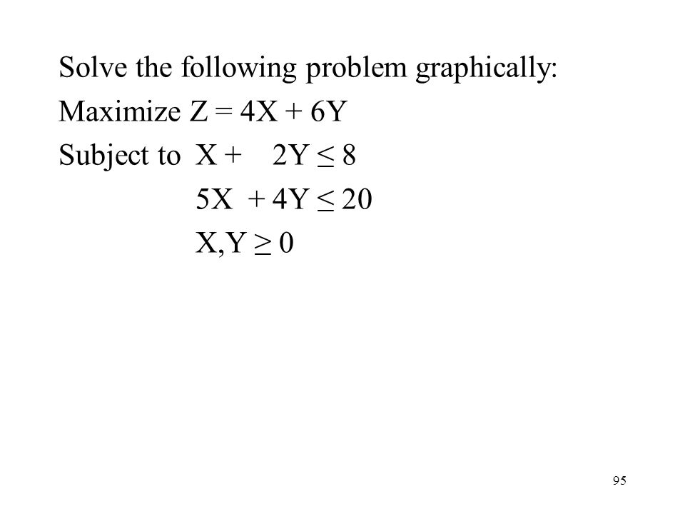 95 Solve the following problem graphically: Maximize Z = 4X + 6Y Subject toX + 2Y 8 5X + 4Y 20 X,Y 0