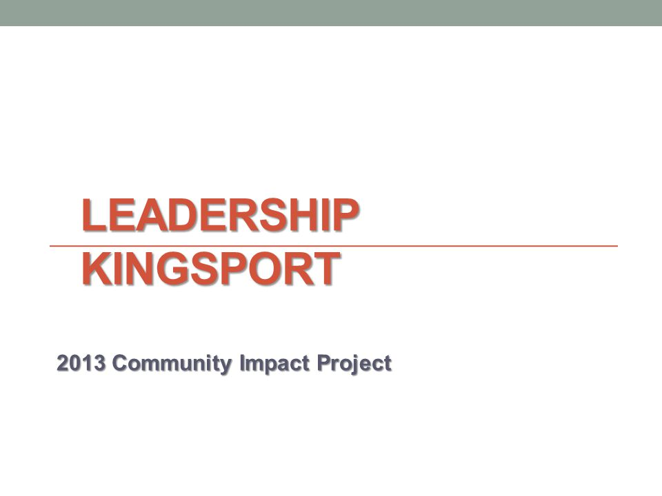 LEADERSHIP KINGSPORT 2013 Community Impact Project