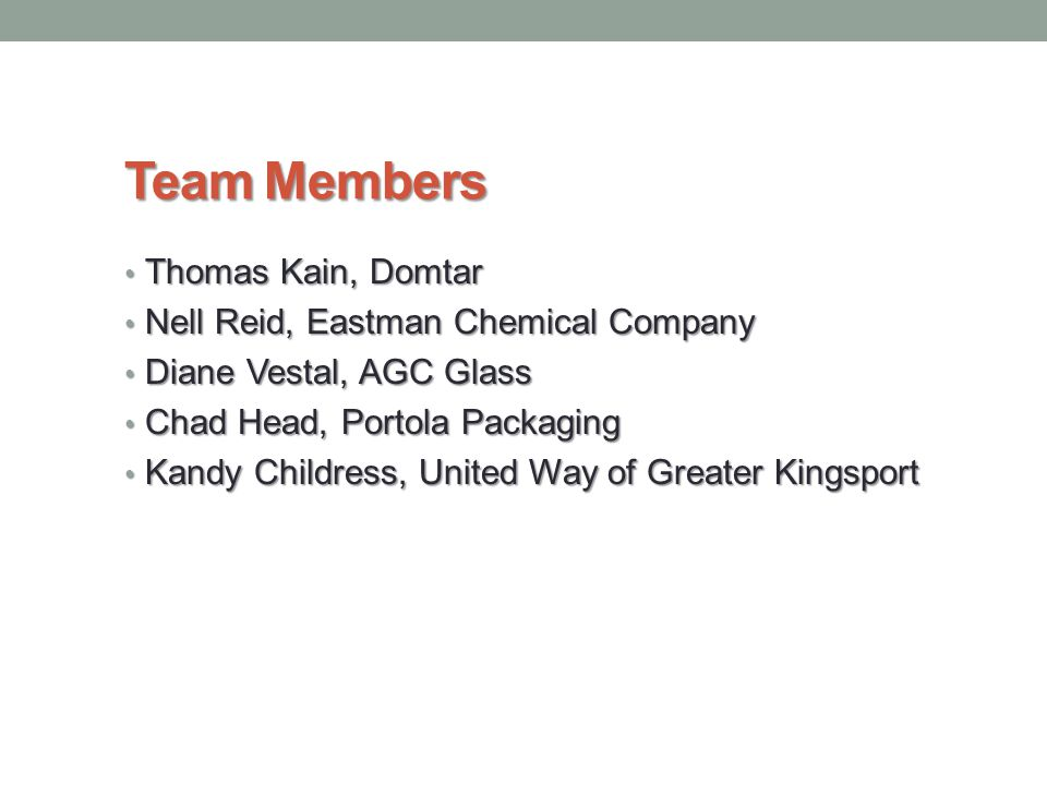Team Members Thomas Kain, Domtar Thomas Kain, Domtar Nell Reid, Eastman Chemical Company Nell Reid, Eastman Chemical Company Diane Vestal, AGC Glass D