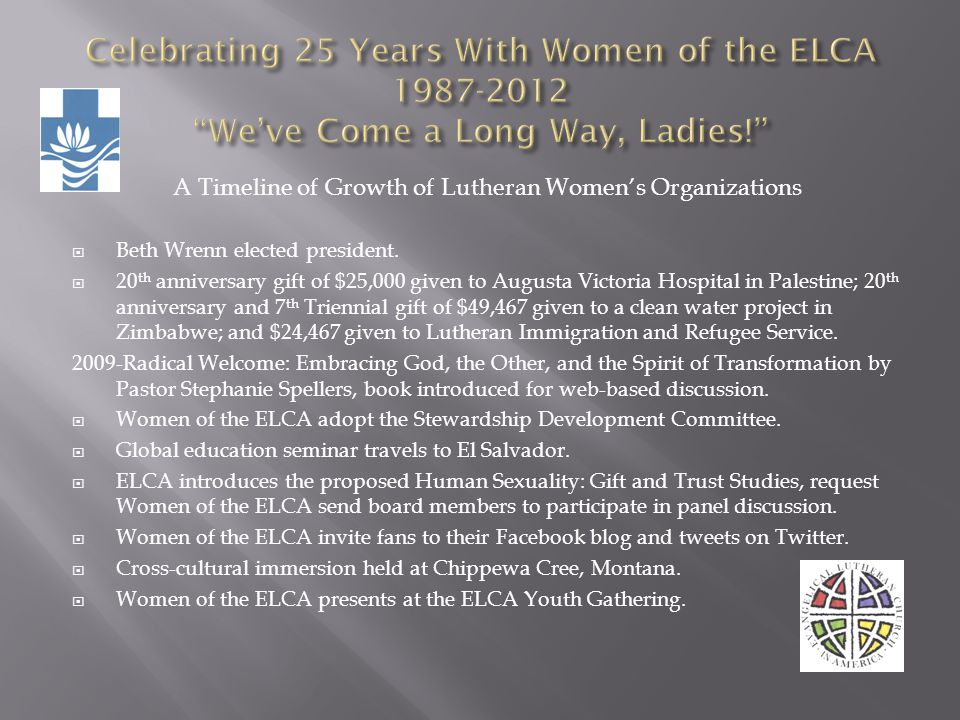 A Timeline of Growth of Lutheran Womens Organizations Beth Wrenn elected president. 20 th anniversary gift of $25,000 given to Augusta Victoria Hospit