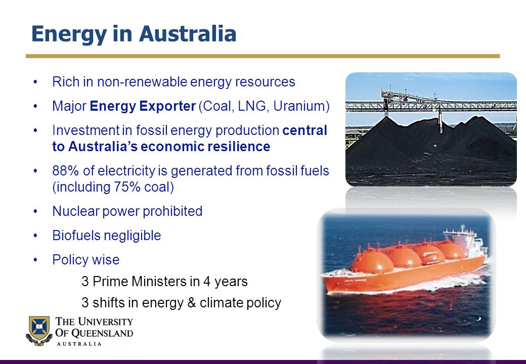 Energy in Australia Rich in non-renewable energy resources Major Energy Exporter (Coal, LNG, Uranium) Investment in fossil energy production central to Australias economic resilience 88% of electricity is generated from fossil fuels (including 75% coal) Nuclear power prohibited Biofuels negligible Policy wise 3 Prime Ministers in 4 years 3 shifts in energy & climate policy