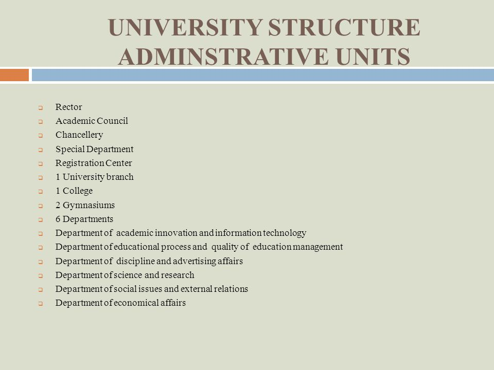 UNIVERSITY STRUCTURE ACADEMIC UNITS 9 Faculties Faculty of Engineering and Technology Faculty of Technology and Design Faculty of Business Administration and Innovation Economy Faculty of Innovation and Computer Technology Faculty of Branch Systems and Information Technologies Faculty of Financial and Innovation Management Joint Tajik-Ukrainian Faculty of Management of Staff and Modern Technology Faculty of Correspondence Studies Faculty of Fundamental Preparation and Technical Expertise 1 University Branch University Branch in Kulob 1 College Technological College in Isfara 2 Gymnasiums Dusanbe Gymnasium Kulob Gymnasium