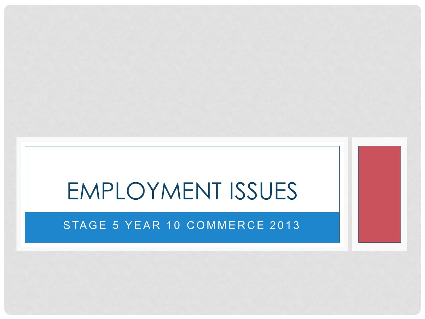 STAGE 5 YEAR 10 COMMERCE 2013 EMPLOYMENT ISSUES