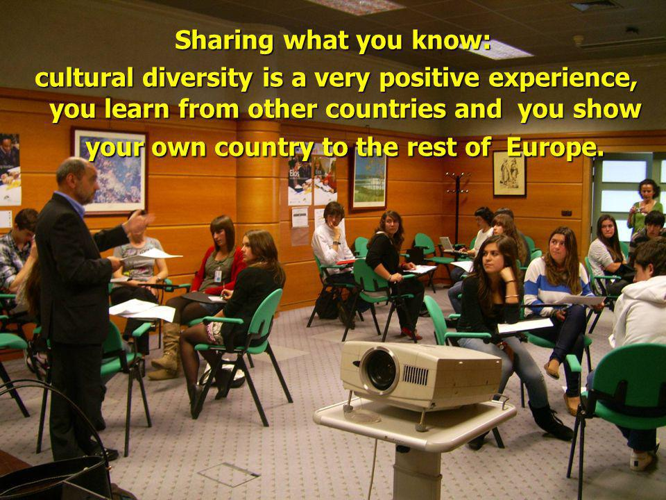Sharing what you know: cultural diversity is a very positive experience, you learn from other countries and you show your own country to the rest of Europe.