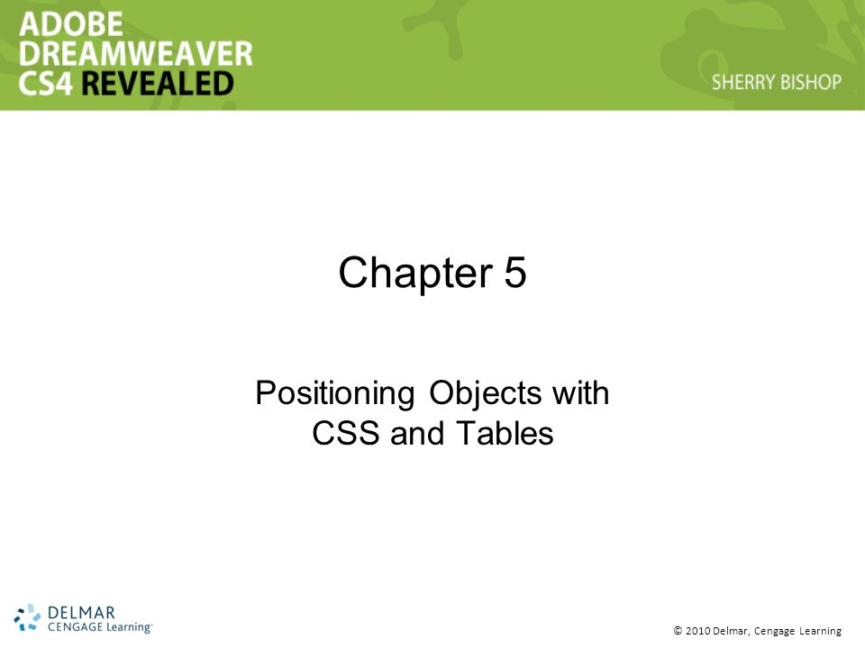 © 2010 Delmar, Cengage Learning Chapter 5 Positioning Objects with CSS and Tables