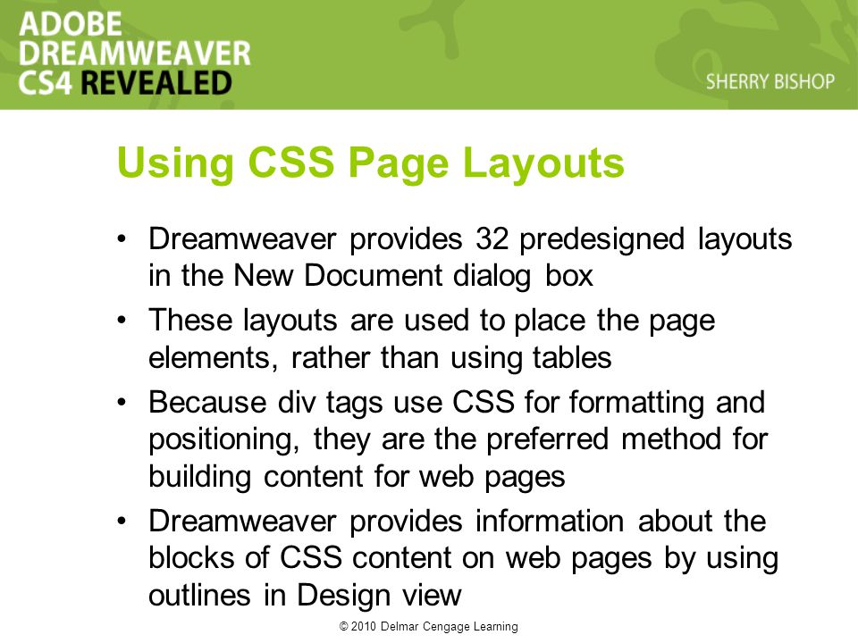 © 2010 Delmar Cengage Learning Using CSS Page Layouts Dreamweaver provides 32 predesigned layouts in the New Document dialog box These layouts are used to place the page elements, rather than using tables Because div tags use CSS for formatting and positioning, they are the preferred method for building content for web pages Dreamweaver provides information about the blocks of CSS content on web pages by using outlines in Design view