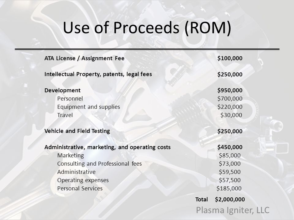 Use of Proceeds (ROM) ATA License / Assignment Fee $100,000 Intellectual Property, patents, legal fees $250,000 Development $950,000 Personnel $700,000 Equipment and supplies $220,000 Travel $30,000 Vehicle and Field Testing $250,000 Administrative, marketing, and operating costs $450,000 Marketing $85,000 Consulting and Professional fees $73,000 Administrative $59,500 Operating expenses $57,500 Personal Services$185,000 Total $2,000,000 Plasma Igniter, LLC