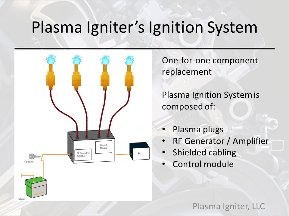 Plasma Igniters Ignition System Plasma Igniter, LLC One-for-one component replacement Plasma Ignition System is composed of: Plasma plugs RF Generator / Amplifier Shielded cabling Control module