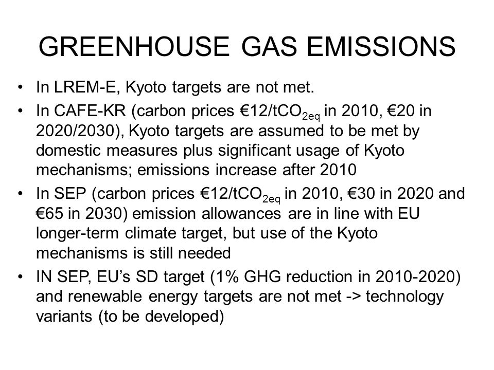 GREENHOUSE GAS EMISSIONS LREM SEP-Domestic SEP CO2 CO2eq CO2 SEP LREM SEP-Domestic In SEP GHGs domestic reduction 20-27 % (2030), supplemented with flexible mechanism to meet proposed targets SEP As energy intensity improvements become more difficult and non-CO2 abatement options get exhausted, shift to fuel mix changes