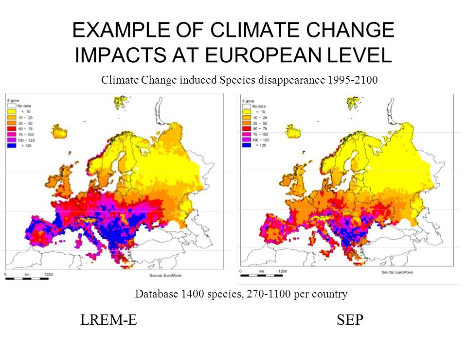 Percentage change in average annual water availability for European river basins as compared to todays levels, realized with two different climate models (ECHAM4 and HadCM3) for the 2070s.