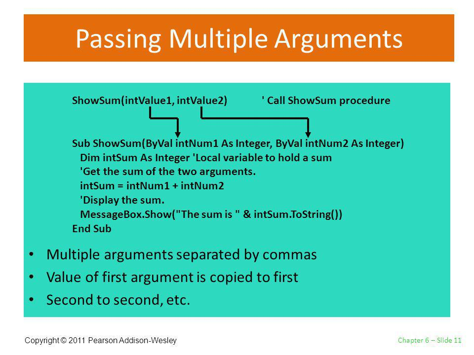Copyright © 2011 Pearson Addison-Wesley Passing Multiple Arguments Multiple arguments separated by commas Value of first argument is copied to first Second to second, etc.