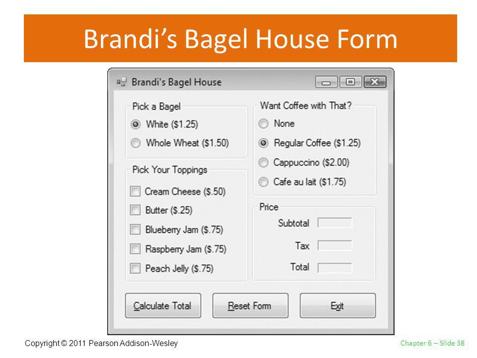Copyright © 2011 Pearson Addison-Wesley Brandis Bagel House Form Chapter 6 – Slide 38