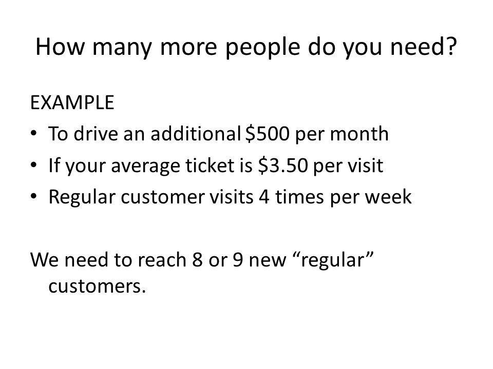 How many more people do you need? EXAMPLE To drive an additional $500 per month If your average ticket is $3.50 per visit Regular customer visits 4 ti