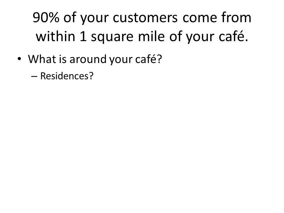 90% of your customers come from within 1 square mile of your café. What is around your café? – Residences?