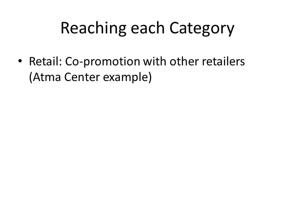 Reaching each Category Retail: Co-promotion with other retailers (Atma Center example)