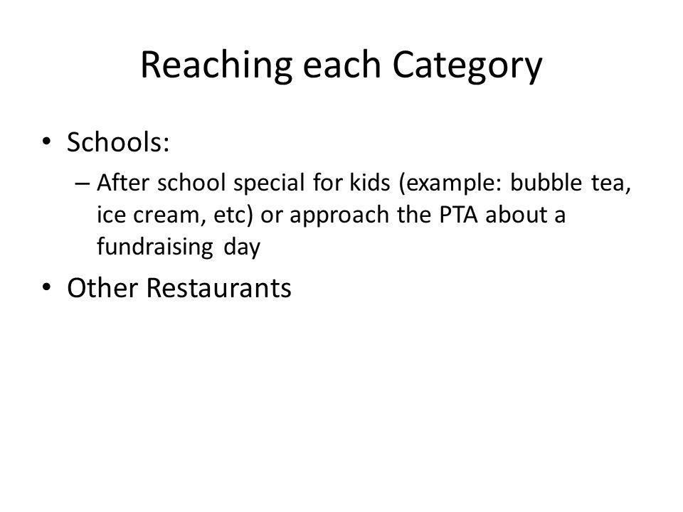 Reaching each Category Schools: – After school special for kids (example: bubble tea, ice cream, etc) or approach the PTA about a fundraising day Othe