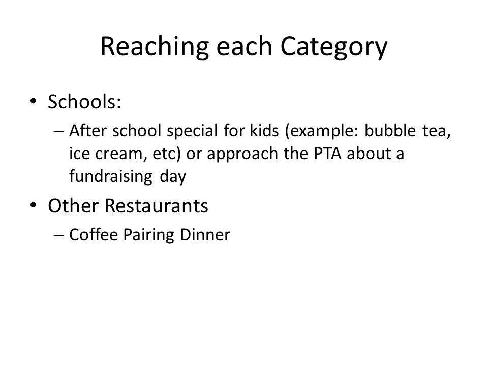 Reaching each Category Schools: – After school special for kids (example: bubble tea, ice cream, etc) or approach the PTA about a fundraising day Other Restaurants – Coffee Pairing Dinner