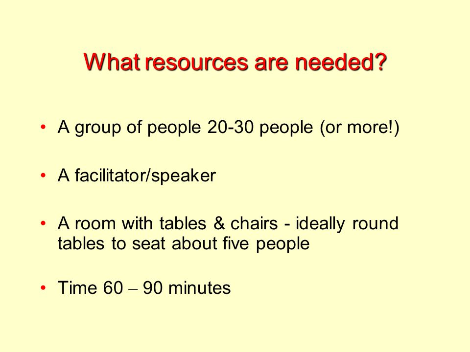 What resources are needed.