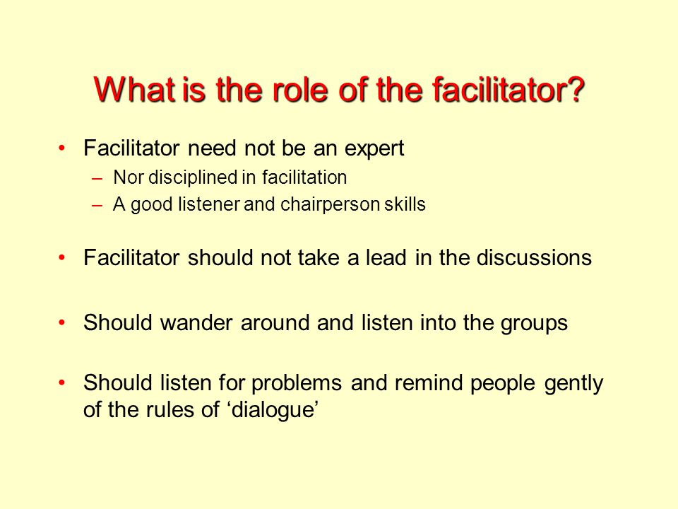 What is the role of the facilitator.