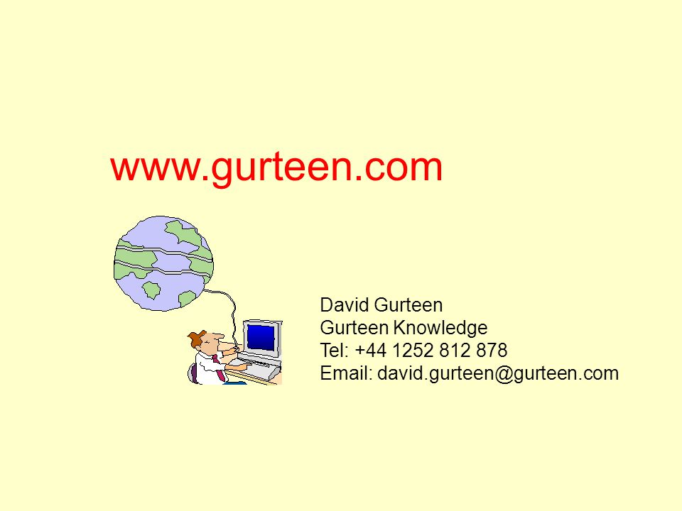 www.gurteen.com David Gurteen Gurteen Knowledge Tel: +44 1252 812 878 Email: david.gurteen@gurteen.com