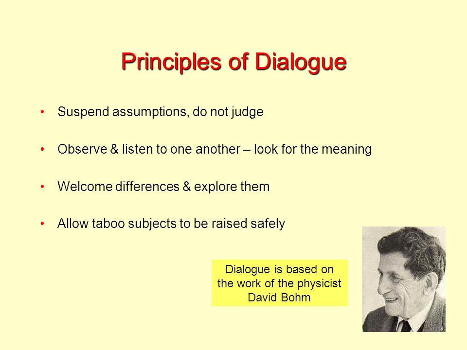Principles of Dialogue Suspend assumptions, do not judge Observe & listen to one another – look for the meaning Welcome differences & explore them Allow taboo subjects to be raised safely Dialogue is based on the work of the physicist David Bohm