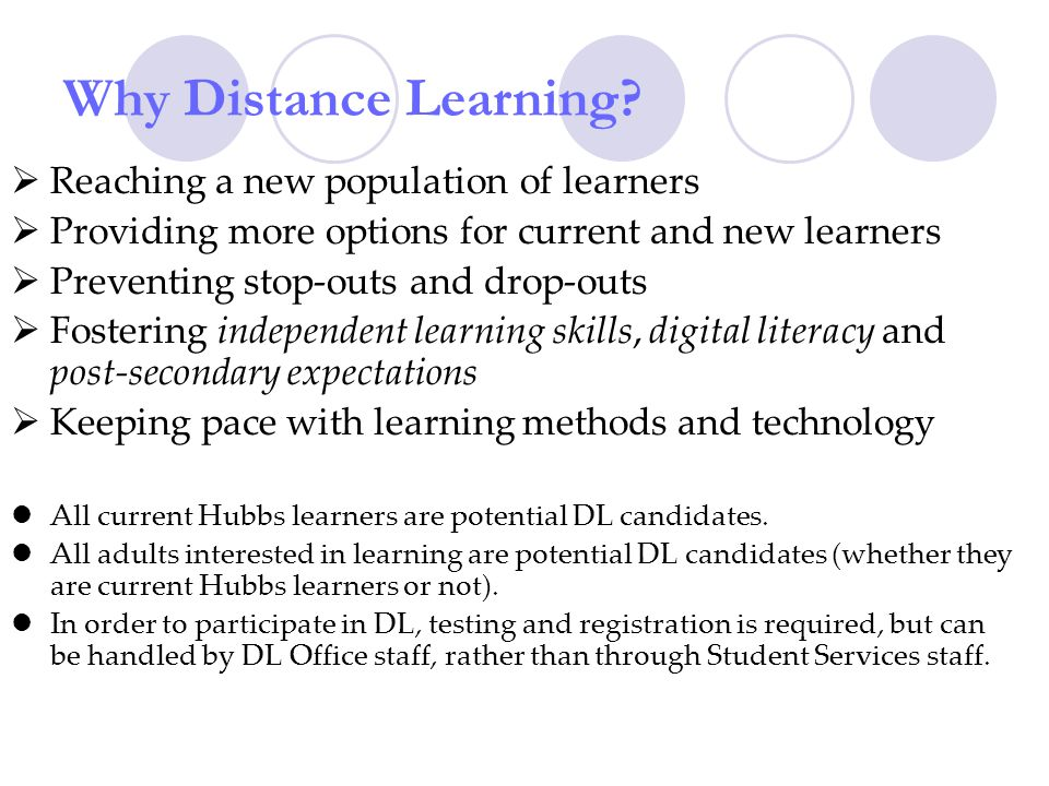 Why Distance Learning.