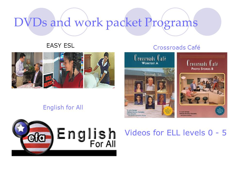 DVDs and work packet Programs EASY ESL Crossroads Café English for All Videos for ELL levels 0 - 5