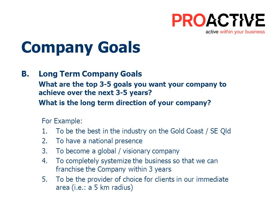 Company Goals B.Long Term Company Goals What are the top 3-5 goals you want your company to achieve over the next 3-5 years? What is the long term dir