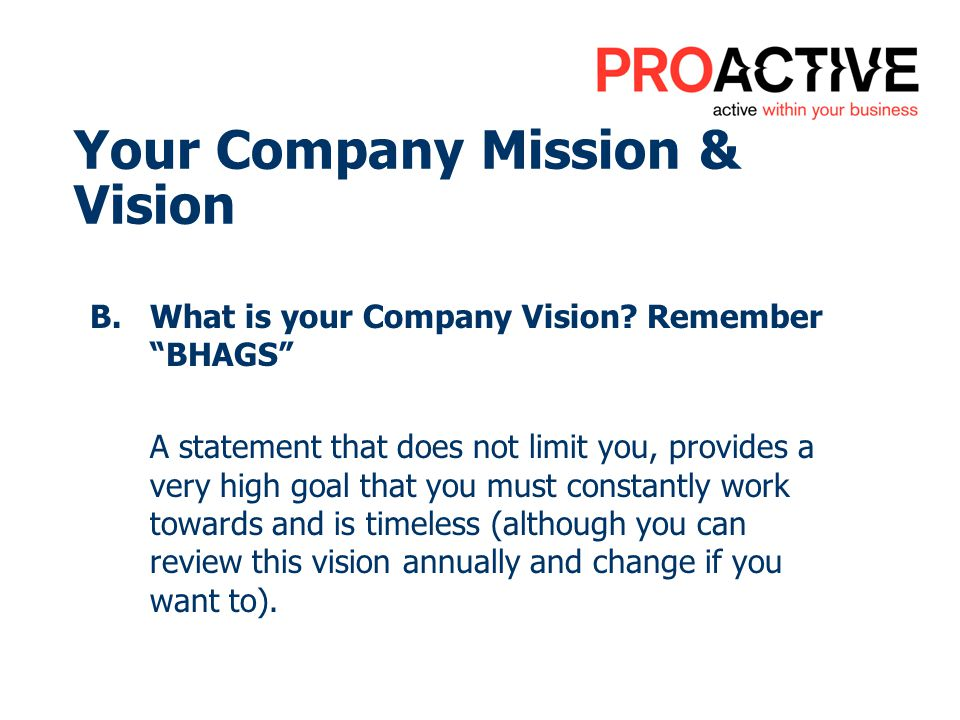 Your Company Mission & Vision B.What is your Company Vision? Remember BHAGS A statement that does not limit you, provides a very high goal that you mu