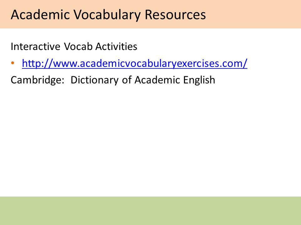 Academic Vocabulary Resources Interactive Vocab Activities   Cambridge: Dictionary of Academic English