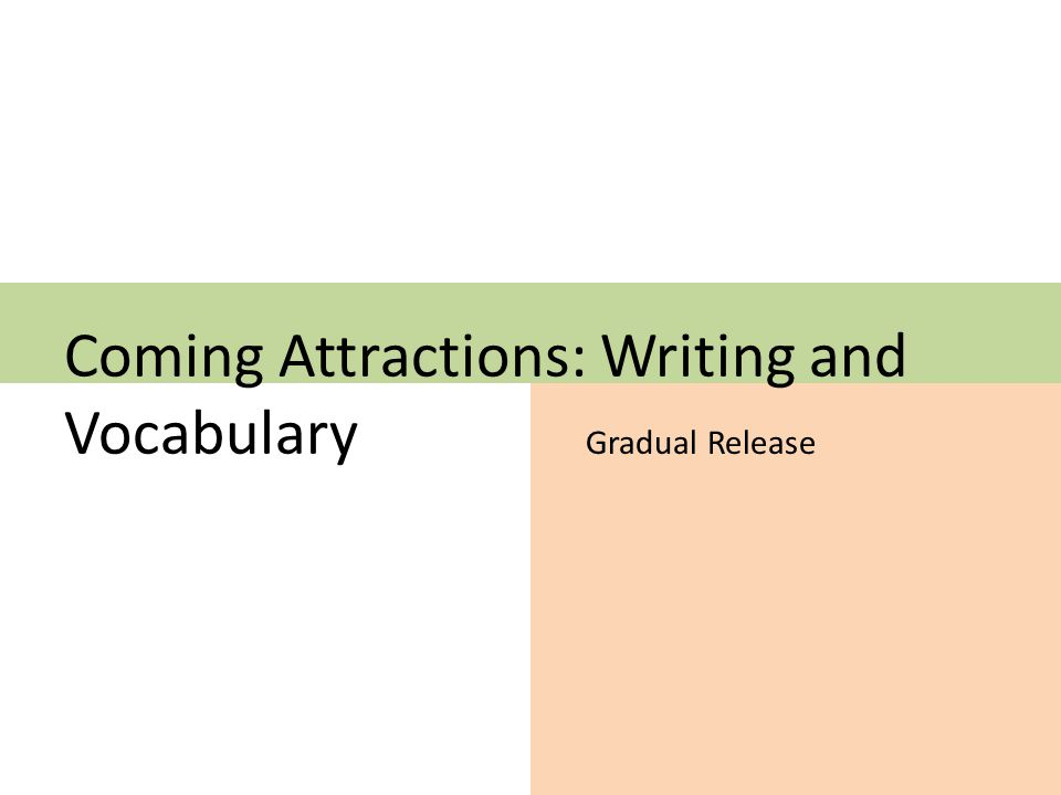 Coming Attractions: Writing and Vocabulary Gradual Release