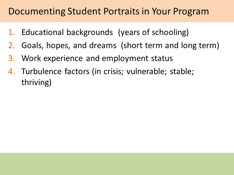 Documenting Student Portraits in Your Program 1.Educational backgrounds (years of schooling) 2.Goals, hopes, and dreams (short term and long term) 3.Work experience and employment status 4.Turbulence factors (in crisis; vulnerable; stable; thriving)