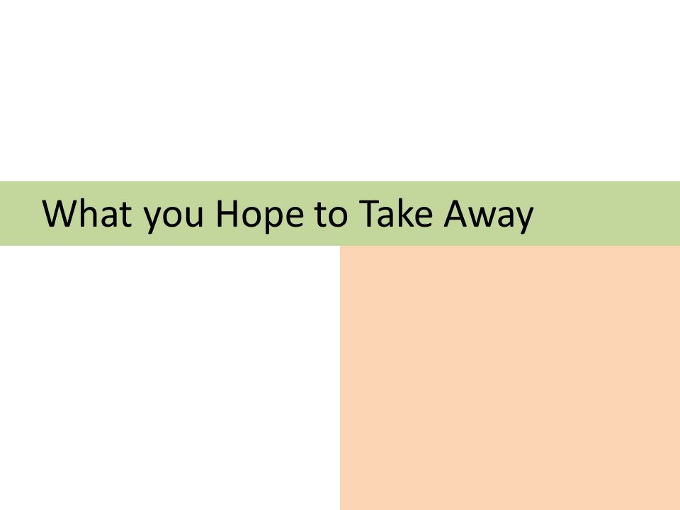 What you Hope to Take Away